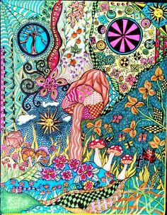 Copic marker mushroom zentangle inspired art by lynne howard 2014 Copic Marker Art, Copic Markers, Zentangles, Mushroom, Doodles, Heaven, Inspired, Inspiration, Ideas