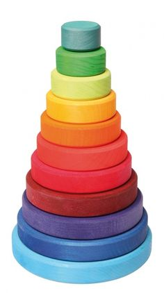 Grimm's Large Wooden Conical Stacking Tower, Rainbow Colored Stacker, Made in Germany Grimm's Toys, Baby Toys, Kids Toys, Toys For Little Kids, Stacking Toys, Natural Toys, Natural Baby, Rainbow Baby, Newborn Gifts