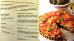 Tomato Pesto Tart with Walnut Crust (from Rose Elliot's 30 Minute Vegetarian)