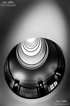 A spiral staircase in Copenhagen, Denmark.