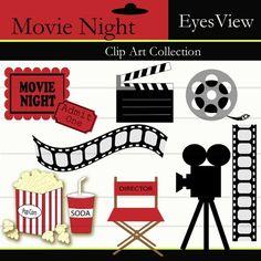 Clipart, Movie Night ,Clip art , INSTANT DOWNLOAD, Digital ,   Film strip,  Camera, Ticket, Popcorn,