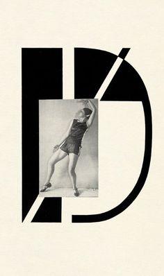 Typography & photomontage by Karel Teige, Pantomima, Dances performed by Milča Mayerová, Prague Collages, Cool Lettering, Lettering Design, Photomontage, Streamline Art, Vintage Graphic Design, Modern Fonts, Abstract Lines, Type Design