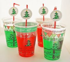SRM Stickers - @Liz Weber created these fun and flabby cups for Christmas using SRM's Stickers by the Dozen and We've Got Your Border in the Christmas designs.