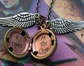 Harry Potter Golden Snitch Necklace Gold Brass by LeslieShields