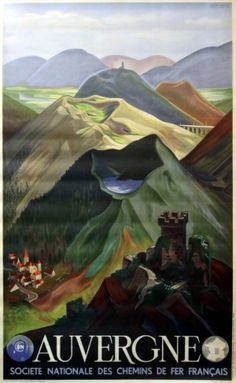 Auvergne SNCF Andre Giroux, 1938 - original vintage poster by Andre Giroux listed on AntikBar.co.uk