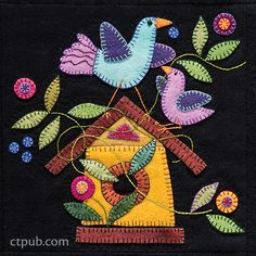 Design from Summertime Sampler by Erica Kaprow #SummertimeSampler Wool Applique Quilts, Wool Applique Patterns, Wool Quilts, Wool Embroidery, Japanese Embroidery, Felt Applique, Embroidery Patterns, Embroidery Stitches, Felted Wool Crafts