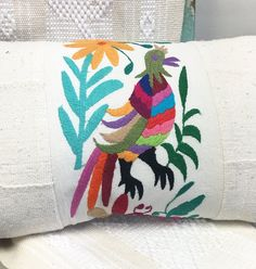 Otomi Lumbar pillow with mud cloth sides, linen back, Premium Quality by MorrisseyFabric on Etsy