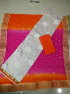 Pure silk Top with embroidery pure chiffon dupatta with jari work cotton bottom|Buy salwars At online | Elegant Fashion Wear Price:1450 #elegantfashionwear #chiffon #layest #salwars