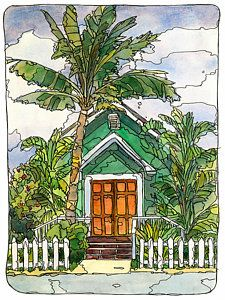 Maui Painting - Green Church by Stacy Vosberg