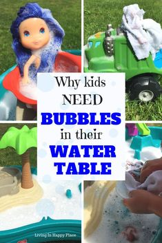 Easy water table idea for toddler, preschooler, or kids! Add a sensory activity to your kids outdoor play by adding bubbles to their water table. 5 fun and 2 real reason bubbles are the best Water table idea! #waterplay #watertable #sensoryplay #outdoorplay #kids via @HappyPlaceMom