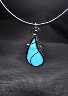 Stained glass jewelry, pendant with cord, silver plated copper wire, blue pendant, bohemian jewelry, handmade jewelry