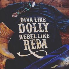 Dolly and Reba Tee - Inspirational T Shirts - Ideas of Inspirational T Shirts - Dolly and Reba Tee Western Outfits, Western Wear, Western Style, Cowgirl Style Outfits, Rodeo Outfits, Country Girls Outfits, Country Outfit Summer, Country Girl Clothing, Country Girl Jewelry