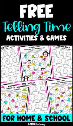 Browse over 390 educational resources created by Games 4 Learning in the official Teachers Pay Teachers store. Telling Time Games, Telling Time Activities, End Of Year Activities, Hands On Activities, Third Grade Math Games, Second Grade, Teaching Style, Teaching Ideas, Time To The Hour