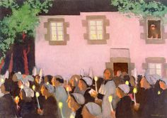 Maurice Denis, Evening procession at Folgoet, c.1926, Oil on canvas, 65,4 x 92 cm, Private Collection