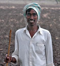 A paleru (agricultural servant) in a village in Warangal District, Andhra Pradesh, India. It was the first time his picture had been taken.