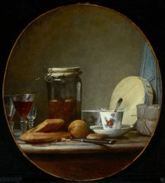Jean Baptiste Siméon Chardin (1699–1779) Detail: Jar of Apricots, knife, wine glass, glass jar, tea cup, spoon, package, food, bread, fruit, bladder, cordial glass, table, cheese box