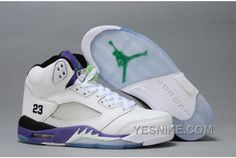 29483e3f5ed6 Air Jordan 5 Retro GS White New Emerald Grape Ice Black Womens Basketball  Shoes
