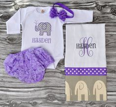 Monogrammed baby girl baby shower coming home outfit lavender gray onepiece,lace bloomers burp cloth and rosette bow headband newborn gift