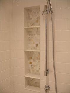 bigger niche! :-)  Calcatta mosiac niche with HD marble baseboard as shelves