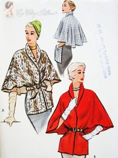 Pure Elegance Cape Stole Coat Vintage Sewing Pattern McCall 8215 Classy and Unique Lovely Flared Back, 2 Pocket Styles, Shawl Collar Size Medium UNCUT-Authentic vintage sewing patterns: This is a fabulous original dress making pattern, not a co Vintage Dress Patterns, Coat Patterns, Clothing Patterns, Moda Vintage, Vintage Mode, Vintage Outfits, Vintage Dresses, Retro Fashion, Vintage Fashion