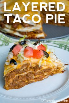 mexican cooking Layered Taco Pie Use Corn Tortillas & omit refried beans. Casserole Recipes, Meat Recipes, Mexican Food Recipes, Cooking Recipes, Taco Bake Casserole, Mexican Cooking, Hamburger Recipes, Taco Pie Bake, Recipes With Refried Beans