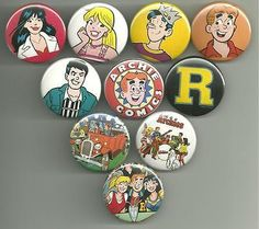 Take a trip to Riverdale High with these great designs from Archie Comics. Set of 10. All pins are 1.5 inches in diameter. All major credit cards as well as Paypal accepted. All pin orders ship for fr