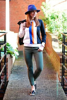 Wow Snazzy... Sporty stripes, black leather jacket, blue fedora, khaki skinnies by Not Dressed As Lamb, via Flickr