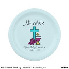 Personalized First Holy Communion Paper Plate  sc 1 st  Pinterest & Second grade First Communion plate | Art projects | Pinterest ...