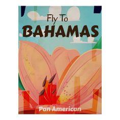 The Bahamas retro Islands vintage travel poster - Classic Bahamas Islands holiday art.
