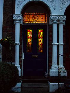 Trendy Victorian Front Door Ideas Home Front Door Trims, Front Door Porch, Black Front Doors, Front Door Entrance, Glass Front Door, Sliding Glass Door, House Front, Glass Doors, Main Entrance