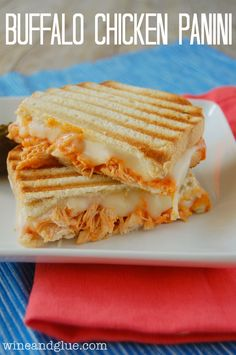 "Buffalo Chicken Panini - this is almost exactly what Jack made last week. Always looking for way to put meat in normally meatless things like grilled cheese for my ""I need meat at every meal"" husband."