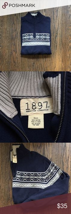 Men's 1897 Quarter Zip Sweater Men's 1897 Quarter Zip Sweater. Perfect condition worn only twice. Fair isle pattern perfect for the colder weather. 1897 Sweaters Crewneck