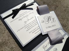 Square Pocket Wedding Invitations - Classic or Elegant Wedding, Black and White, Bow, Silver