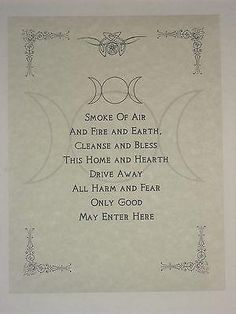 Wiccan House Blessings Poster or Book of Shadows Page Wicca Pagan Witchcraft in Collectibles, Religion & Spirituality, Wicca & Paganism | eBay by Jennifer March