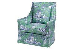 Alcott Linen Swivel Chair, Emerald | One Kings Lane