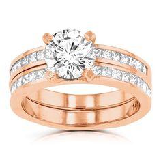 La Vita Vital 14k Rose Gold 2.05ct. TDW Diamond Bridal Set (G-H, VS-SI1) (Size 4.5), Women's, Pink
