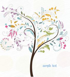 Doodles Background With Colorful Tree Vector Illustration