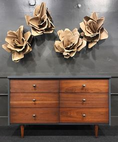 """""""Awesome mid-century dresser refinished with General Finishes Queenstown Gray Milk Paint, Flat Out Flat Topcoat, Java Gel Stain and Arm-R-Seal Topcoat."""" - Virginia Vintage Interiors"""
