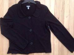 J.Jill Jacket M Medium Black Peter Pan Collar Ruffle Button jjill Stretch B8  | eBay