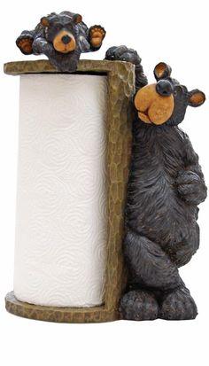 Black Bear Paper Towel Holder Willie Bear. $49.00