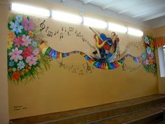 Music scores, notes, and musical instruments hand-painted on a wall of a music auditorium. Great custom mural idea for music lovers and music teachers. Music Teachers, Music Score, Auditorium, Music Lovers, Scores, Musical Instruments, Murals, Commercial, Hand Painted