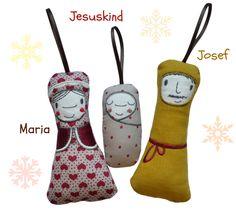 Deko und Accessoires für Weihnachten: Baumschmuck  Heilige Familie  Krippenfiguren  made by siebenland via DaWanda.com