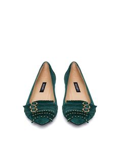 Emily Emerald Green Flats with Gold Details