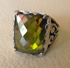 peridot color men ring sterling silver 925 big by AbumariamSilver