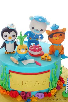 Close Up Shot. I made this for a boy turning 4, who loves the TV show called The Octonauts. There is Captain Barnacles, Peso, Kwazii and Tunip the vegimal who loves to cook and bake especially kelp cakes. I had lots of fun creating this cake!