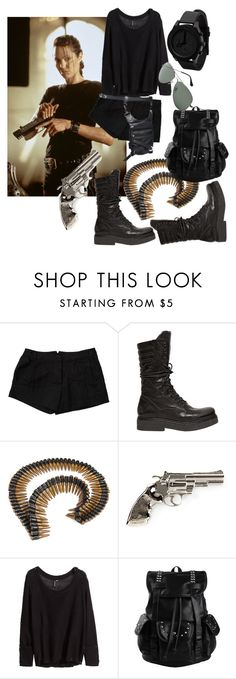 """""""Lara Croft"""" by intellectual-blackness ❤ liked on Polyvore featuring LARA, Elizabeth and James, Janet & Janet, Commando, Yves Saint Laurent, H&M and Ray-Ban"""