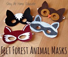 Felt forest animal masks are a great way to provide dramatic play props if you don't have a ton of space.