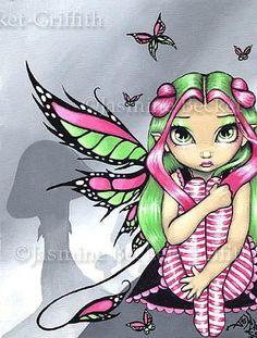 Jasmine Becket Griffith Pink and Green Butterflies Print