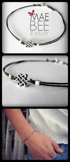 NEW! Tiny #Celtic #Knot on green Irish waxed linen from JewelryByMaeBee on #Etsy. www.jewelrybymaebee.etsy.com