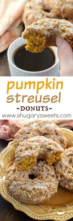 Nutritious Snack Tips For Equally Young Ones And Adults This Easy Fall Recipe For Pumpkin Streusel Donuts Results In A Delicious, Moist Donut Topped With A Brown Sugar Crumble And Cinnamon Glaze, You've Got To Try Them Pumpkin Recipes, Fall Recipes, Pumkin Cookies Recipes, Baking Recipes, Dessert Recipes, Sweets Recipe, Drink Recipes, Healthy Recipes, Baked Doughnuts